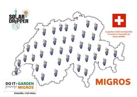 Carte géographique des points de vente Migros, revendeur Solar-Dripper ® en suisse